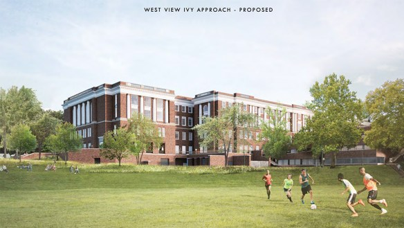 Proposed view from University Ave with Nameless field and large Library building behind in similar style to current except expanded back entrance and patio space