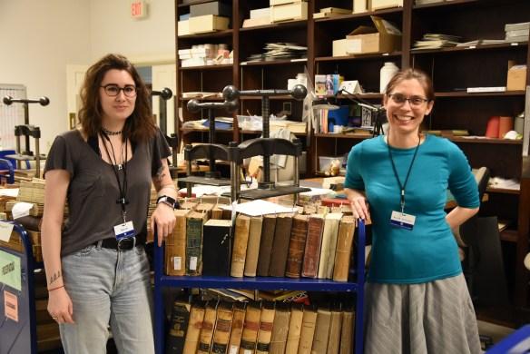Hessler (left) and McClurken, in the Preservation offices in Alderman Library