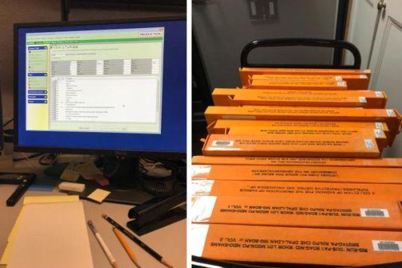 stack of Tibetan books Talia cataloged