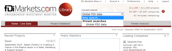 "Screenshot of fDi Markets search box with ""New Search"" selected."