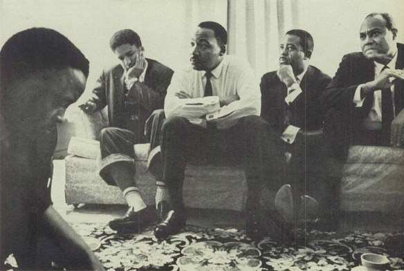 Black and White photo from Life Magazine of Rev. Martin Luther King, Jr. meeting with other leaders to decide whether to hold 2nd Selma march