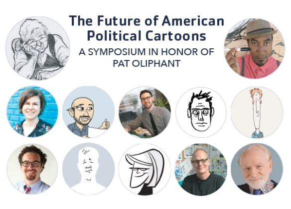 image showing headshots and caricatures of cartoonists