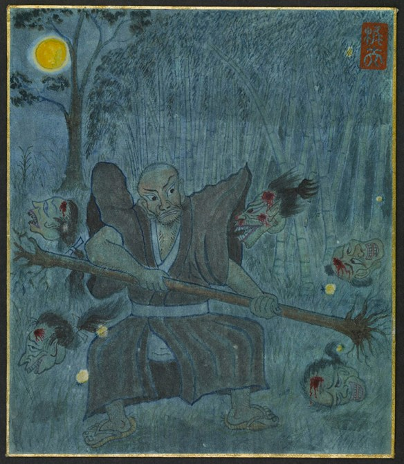 A man in a moonlit wood wields a small uprooted tree trunk. Bloodied heads, without bodies, surround him, one seeming to attack him with bared teeth.