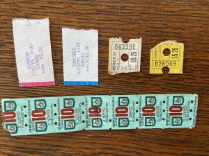Raffle tickets and two movie ticket stubs from 1992 and 1993.