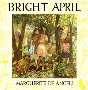 "Book cover illustration for ""Bright April"" depicts a scene of young girls, some Black, some white, in Brownie uniforms in the forest."