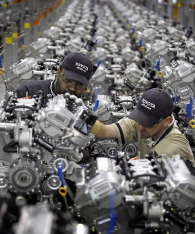Alabama workers at the Toyota engine plant in Huntsville