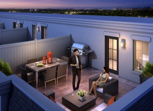 The Hyde Park model's spacious rooftop terrace.