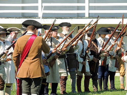 Citizen-soldiers in the Maryland militia during the French and Indian War reenactment at Fort Frederick State Park