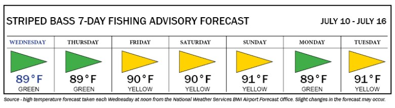 Image of Advisory forecast which shows green flags on Wednesday, Thursday and Monday, and yellow flags on Friday, Saturday, Sunday, and Tuesday