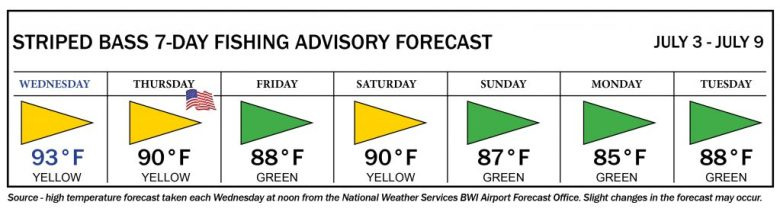 Image of striped bass advisory system flags