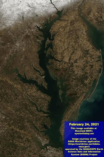 Aerial photo of the Chesapeake Bay in February 2021