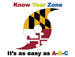 """The Know Your Zone Logo. A Hurricane Icon with the Maryland State Flag image in it. Text reads """"Know Your Zone It's as easy as A-B-C"""""""