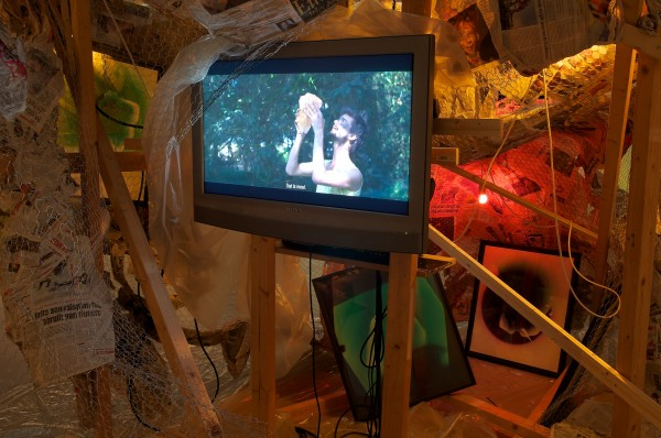 Nathaniel Mellors, The Nest, 2011. Installation view at Cobra Museum, Amstelveen. Mellors' third exhibition at Matt's Gallery will run 18 April–27 May 2012.