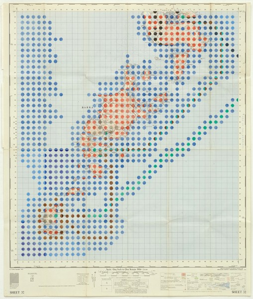 Alison Turnbull, We Crossed the Minch, 2011. Graphite and coloured pencil on Ordinance Survey map.