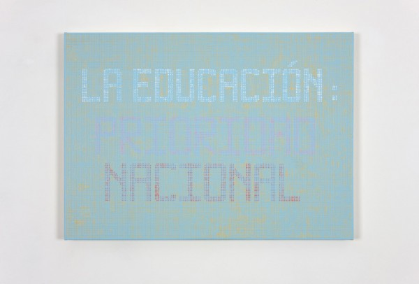 Alison Turnbull, Education, 2011. Acrylic, enamel and silverpoint on canvas on board. 50 x 70 cm