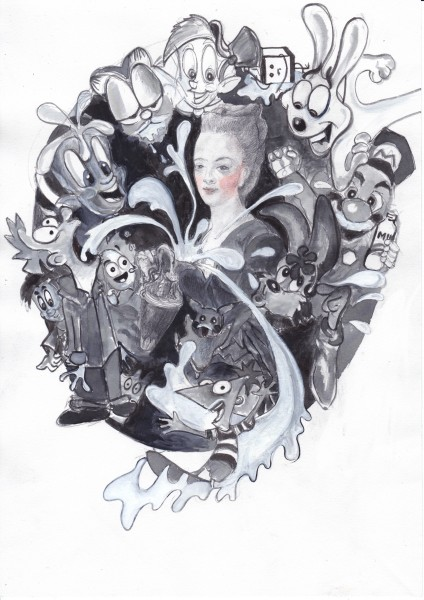 Melanie Jackson, Giving Suck: (Marie Antoinette as Hebe), 2015. Ink, graphite, watercolour on paper.