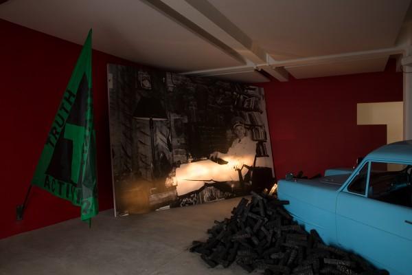 Matt Stokes, Madman in a Lifeboat, 2015. Installation shot at Matt's Gallery, London.