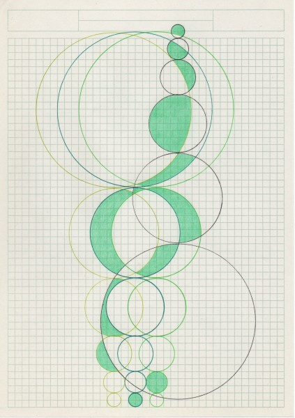 Alison Turnbull, Fibonacci 14, 2015. Ink and pencil on paper.
