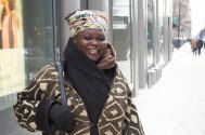 Layers, layers, layers! Sister Yaa, Austin, stays comfortable in her authentic African attire. (Mallory Hughes / Medill)