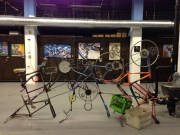 "Rat Patrol Bike Club. ""The Can Crusher."" Recycled bike scraps. (Shanley Chien/Medill)"