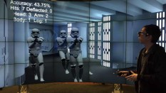 Stormtroopers shoot at Nishimoto in the virtual reality Death Star model he created.