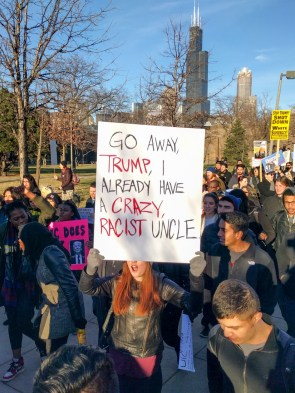 Protesters marched from UIC's campus to Donald Trump's rally. (Harry Huggins/MEDILL)