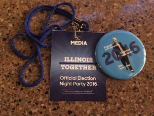 A press pass to Hillary Clinton's party in Chicago. Our reporters will be covering the Official Election Night Party for Hillary Clinton, so say tuned. (Christen Gall/MEDILL)