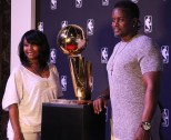 Fans had their championship photo taken next to the Larry O'Brien Championship Trophy. Look, but don't touch.