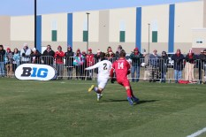 Borges edges a Indiana attacker off the ball to prevent a scoring chance. (Nick Hennion/Medill)