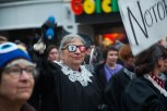 A woman dressed as Supreme Court justice Ruth Bader Ginsburg marches with fellow attendees at the True/False film festival. (Photo by Ankur Singh/Medill)