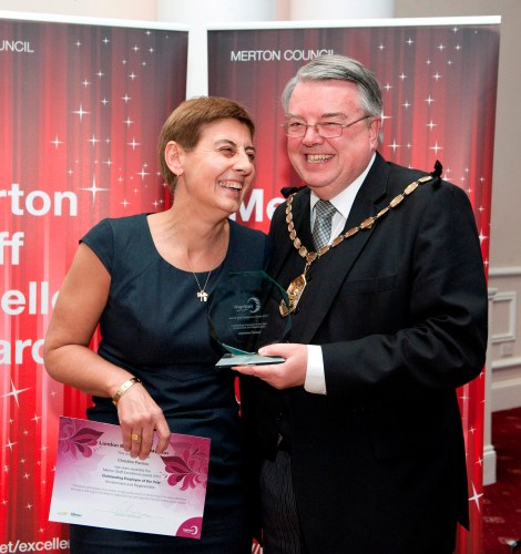 Christine Parsloe accepting her Outstanding Employee of the Year award at the Merton Council Staff Excellence Awards 2013