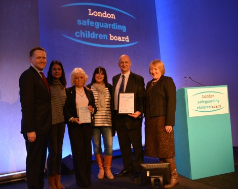 Left to right: Councillor Peter John, London Councils' Executive member for children's services, Sindia Malhotra of Jigsaw4u, Councillor Maxi Martin, Merton Council's lead member for children services, Emma Bradley of Barnado's, Lee Hopkins, Merton Council children services manager, and Cheryl Coppell, chair of the London Safeguarding Children Board.