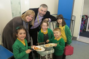 Headteacher at Poplar Primary School, Katherine Davies with Councillor Andrew Judge and pupils who are helping to recycle foodwaste at the school