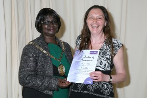 Mayor of Merton Councillor Agatha Akyigyina with Teresa Pryce