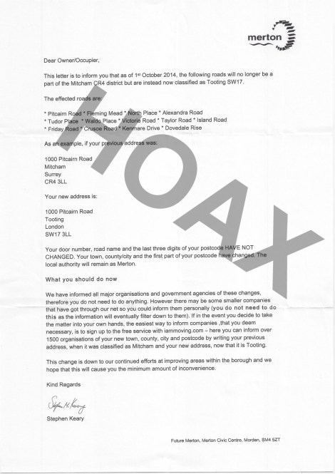 Hoax letter sent to residents