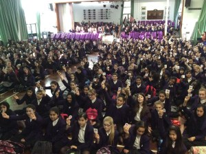 Pupils at Ricards Lodge - one of the borough's school assemblies raising the issue of child sexual exploitation