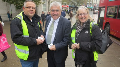 Leader of the Council, Cllr Stephen Alambritis, with officers from the council in Wimbledon town centre