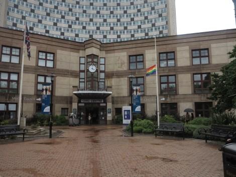 Council rainbow flag half mast