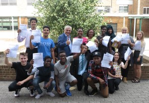 Students at St Mark's celebrate their GCSE results.