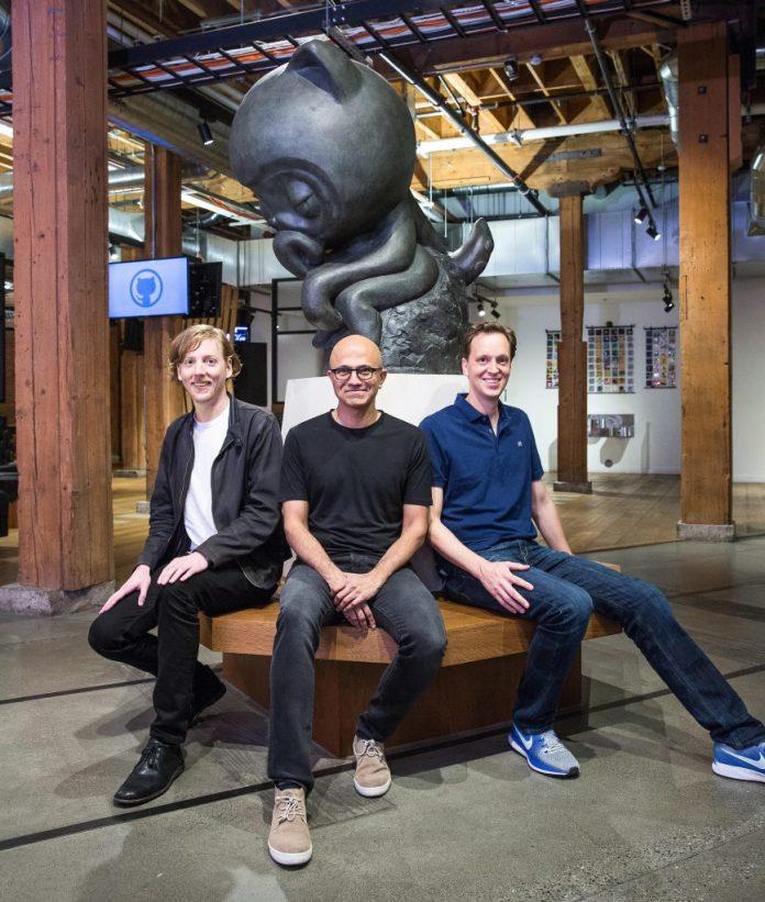 Chris Wanstrath, Satya Nadella and Nat Friedman