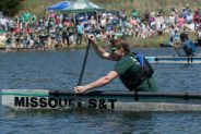 The Concrete Canoe Design Team races at Little Prairie Lake on Saturday April 23, 2016. Sam O'Keefe/Missouri S&T