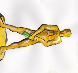 drawing of oscar statuette holding bottle of wine, not the actual prize for winemaker of the year