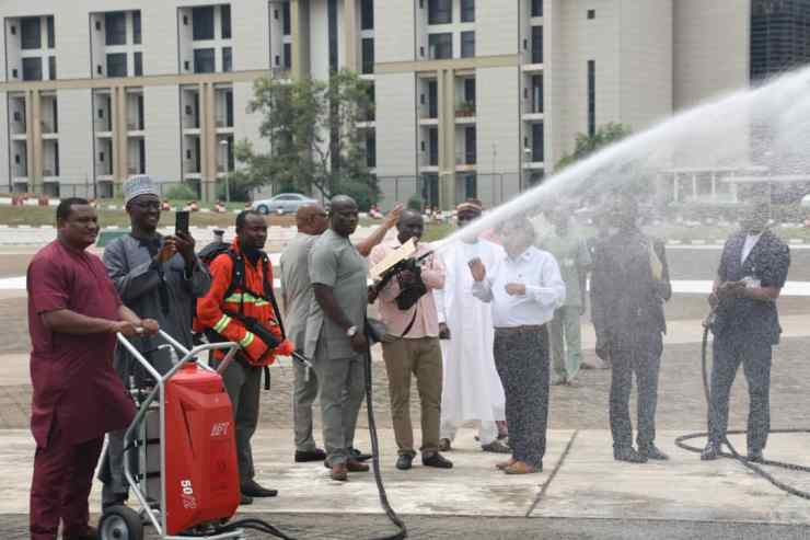 Another Member of the National Assembly Tests the AFT Gun with the Other Equipments in Checks | SKytick Advanced FIREFIGHTING TECHNOLOGY