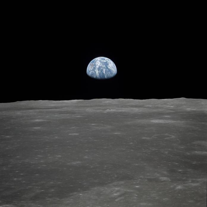 Earth rising Apollo 11