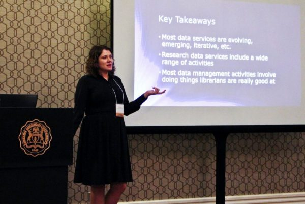 """Caitlin Baker presenting """"Data Management for Librarians: What Librarians Need to Know"""""""