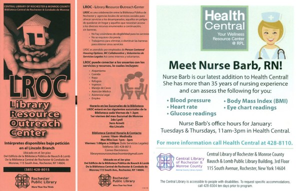 LROC and HC flyers promoting health and other services