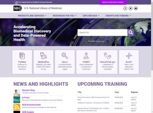 NLM New Homepage Jun 1 2018