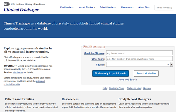 ClinicalTrials.gov homepage