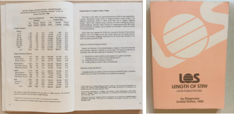 book titled Length of Stay showing the front cover and the book opened to pages with lots of data