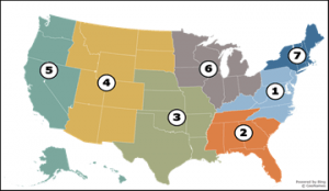 A map of the United States with numbers and colors allocated to different regions. Below this picture you will learn the regional states and numbers.